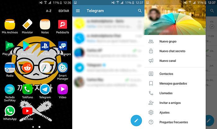 Como desbloquear contactos en Telegram Paso 1