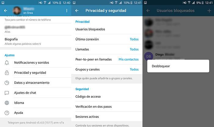 Como desbloquear contactos en Telegram Paso 2