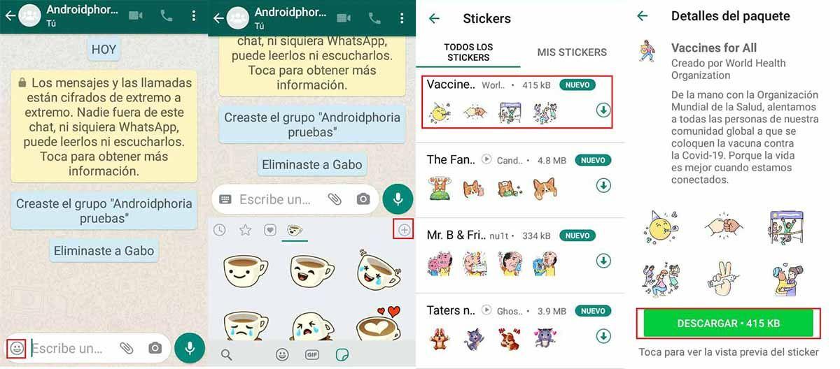 Cómo descargar el pack de stickers de WhatsApp para la vacuna del coronavirus
