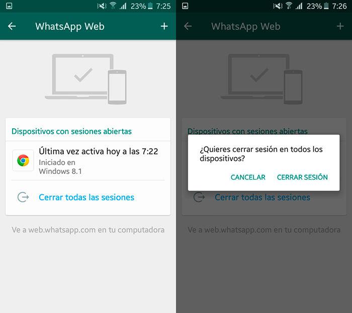 Como desconectar WhatsApp Web Paso 3
