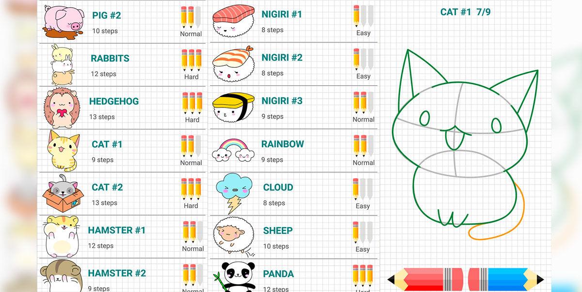 Cómo dibujar animales, personas y comida Kawaii paso a paso
