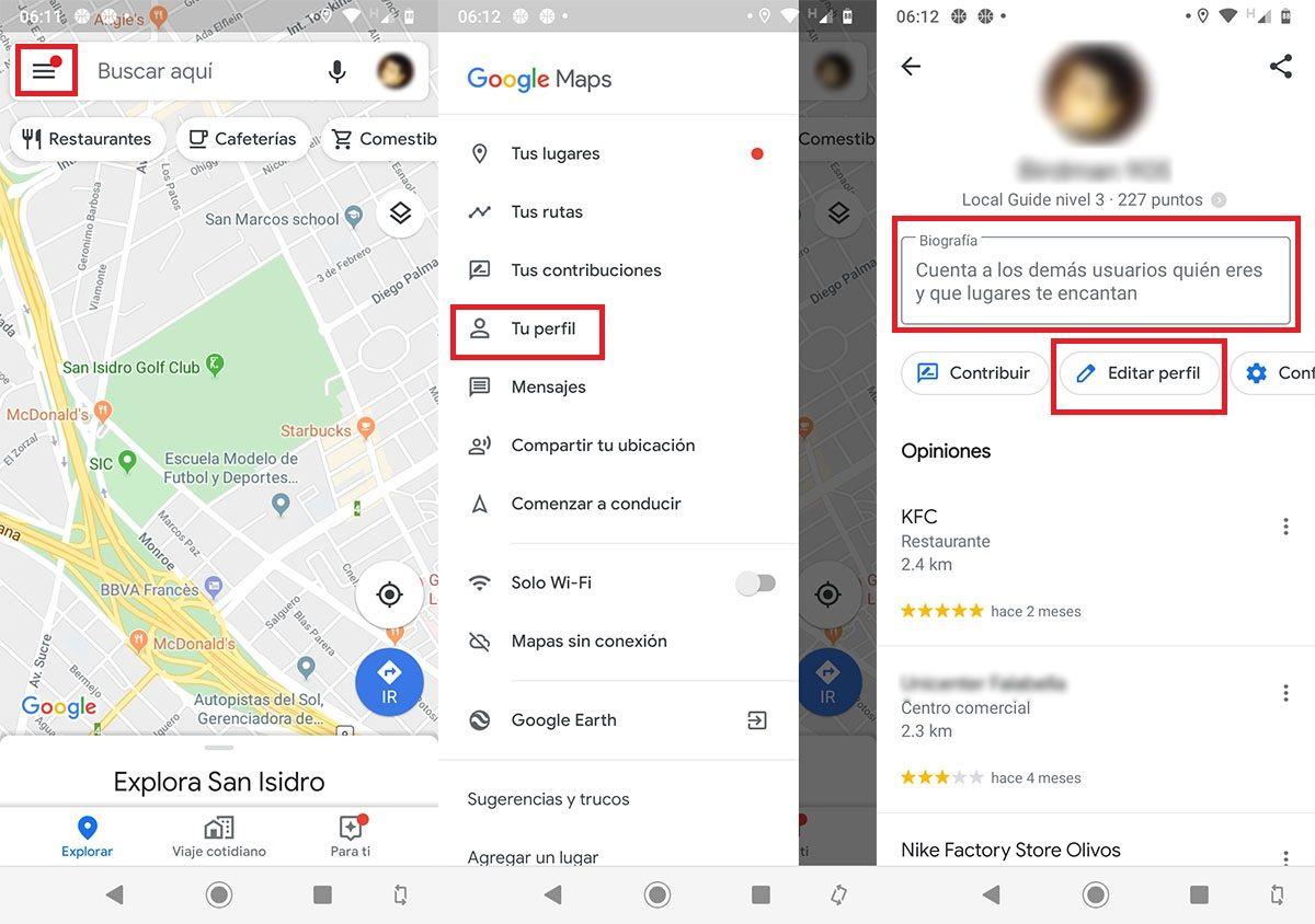 Como editar perfil Google Maps