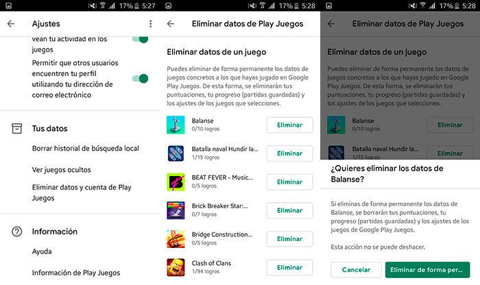 Como eliminar datos puntuaciones Google Play Juegos Paso 2