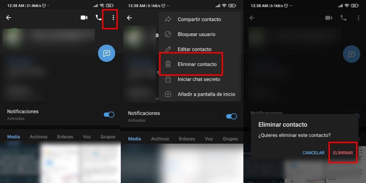 Cómo eliminar un contacto de Telegram