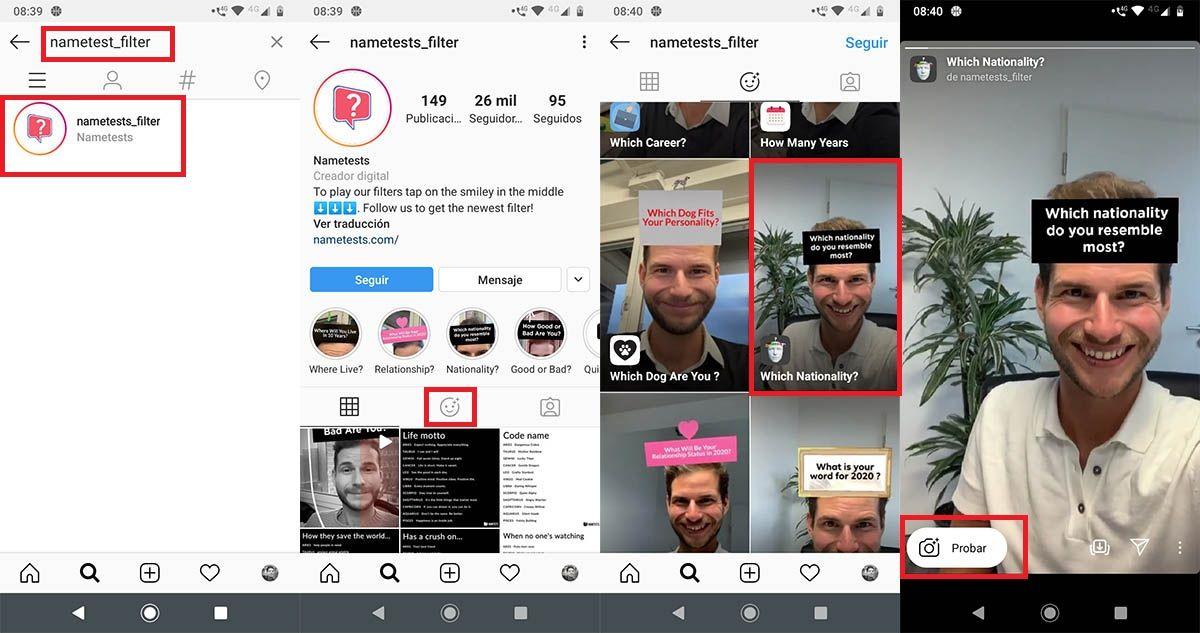 Cómo encontrar filtro de Cuál es tu nacionalidad Instagram