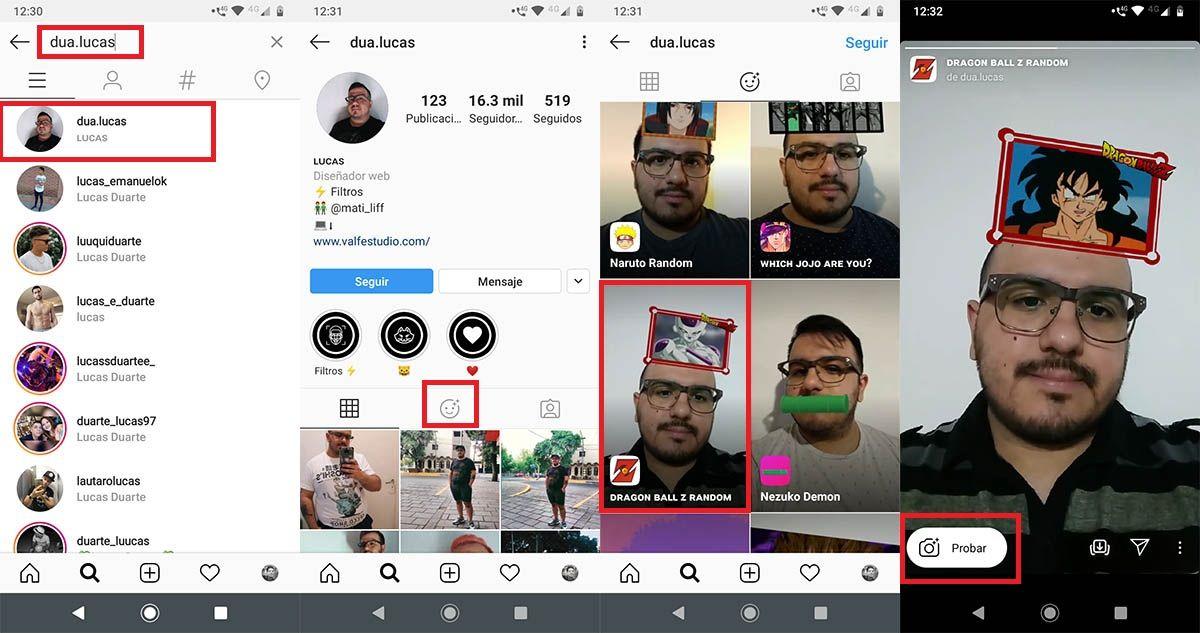 Cómo localizar filtro de Dragon Ball Z Instagram