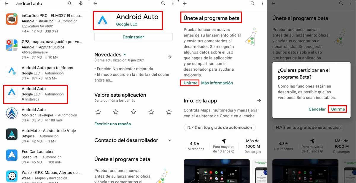 Cómo entrar Android Auto Beta