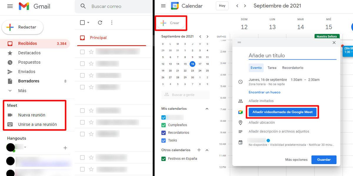 Cómo entrar a Google Meet y crear una reunión desde Gmail y Google Calendar