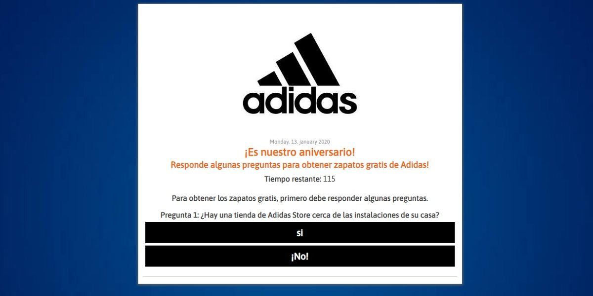 Como es la estafa de Adidas en Facebook, estan regalando zapatillas