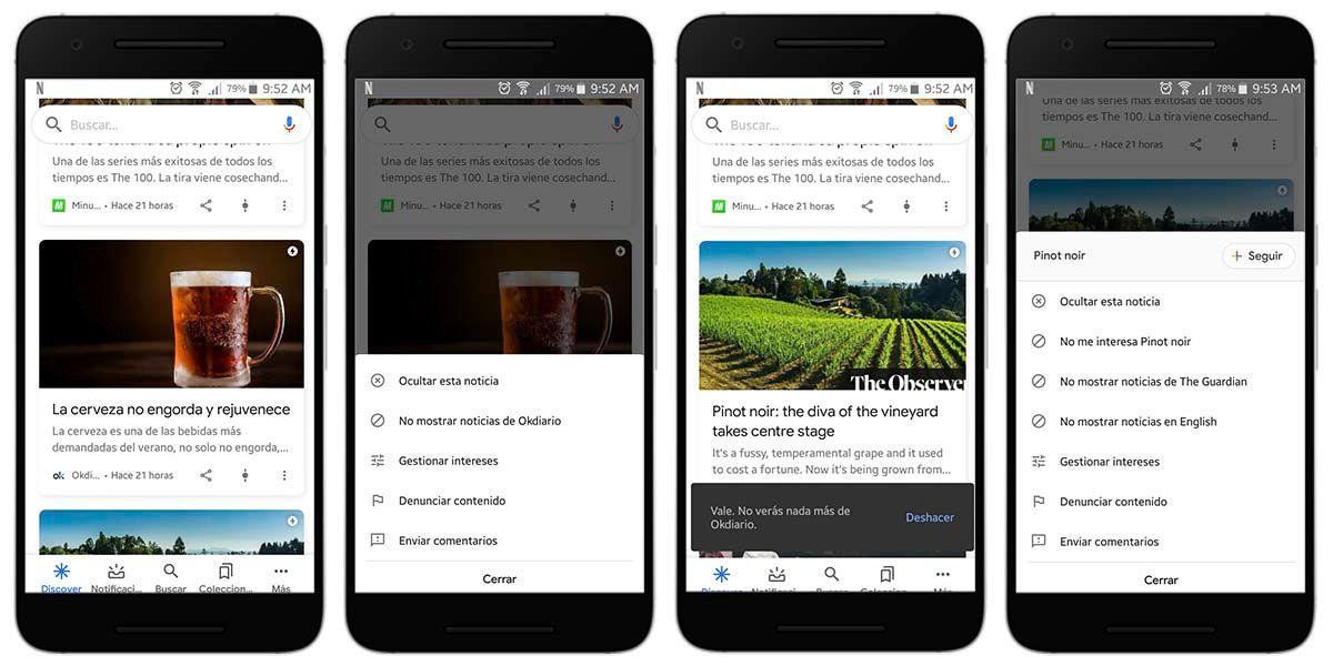 Cómo evitar que aparezcan unos temas en Google Discover