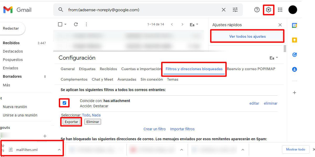 Cómo exportar tus filtros automáticos de email de Gmail