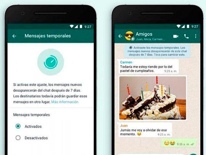 Como funcionan los mensajes temporales de WhatsApp