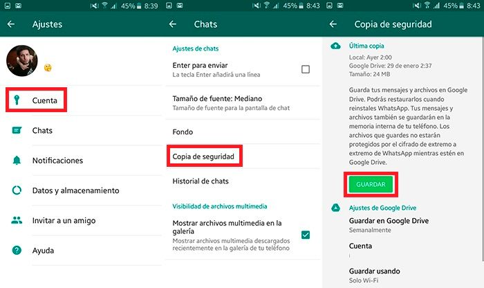 Como guardar copia de seguridad WhatsApp
