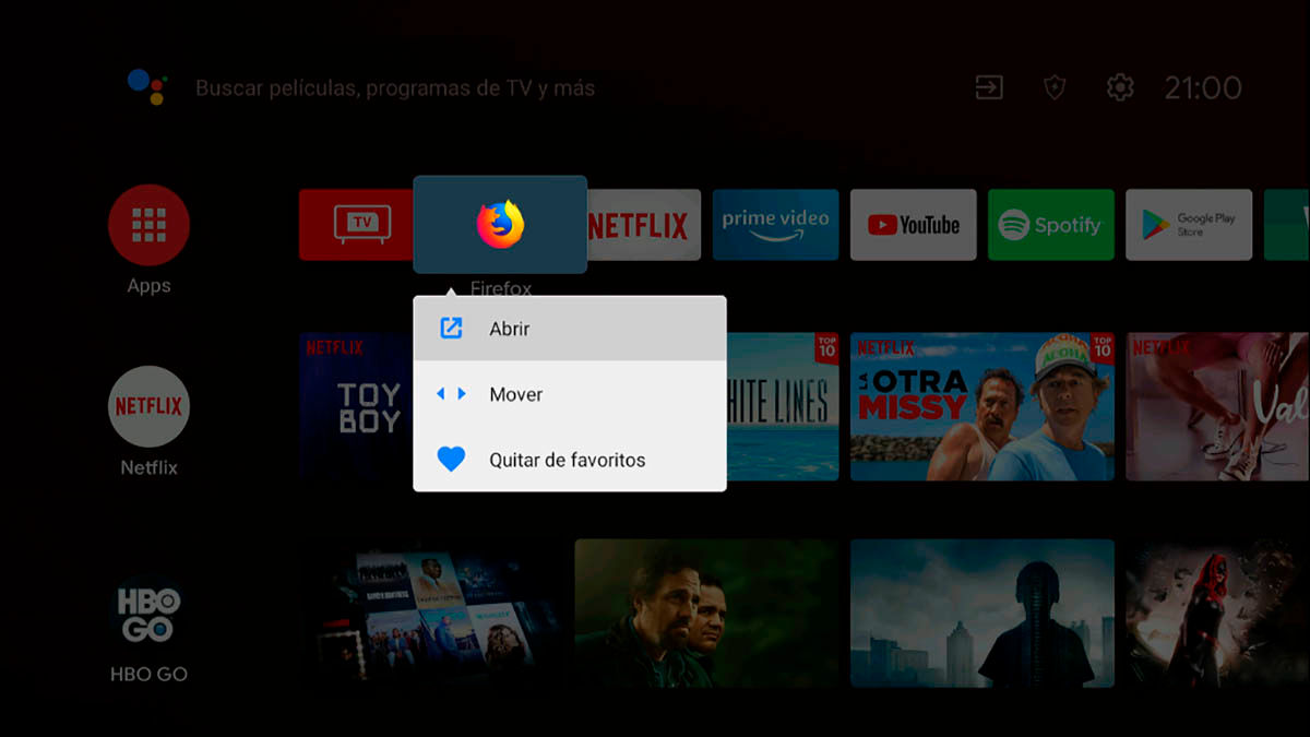 Como mover aplicaciones Android TV