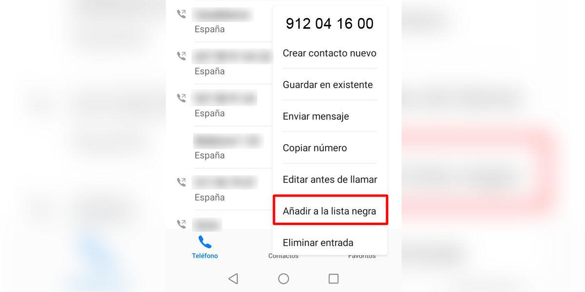 Cómo añadir el número de Vodafone 912041600 a la lista negra