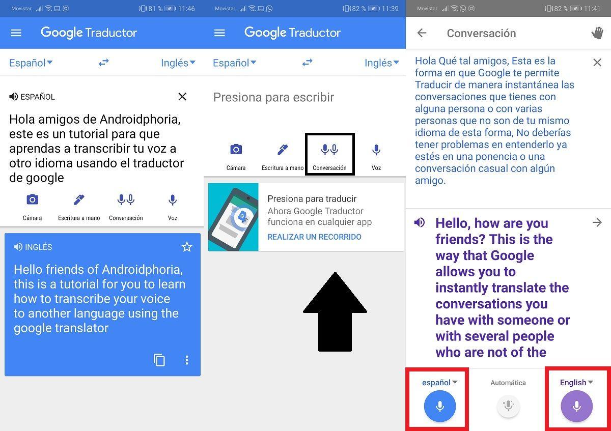 Como puedo transcribir mi voz a otro idioma usando el traductor de Google