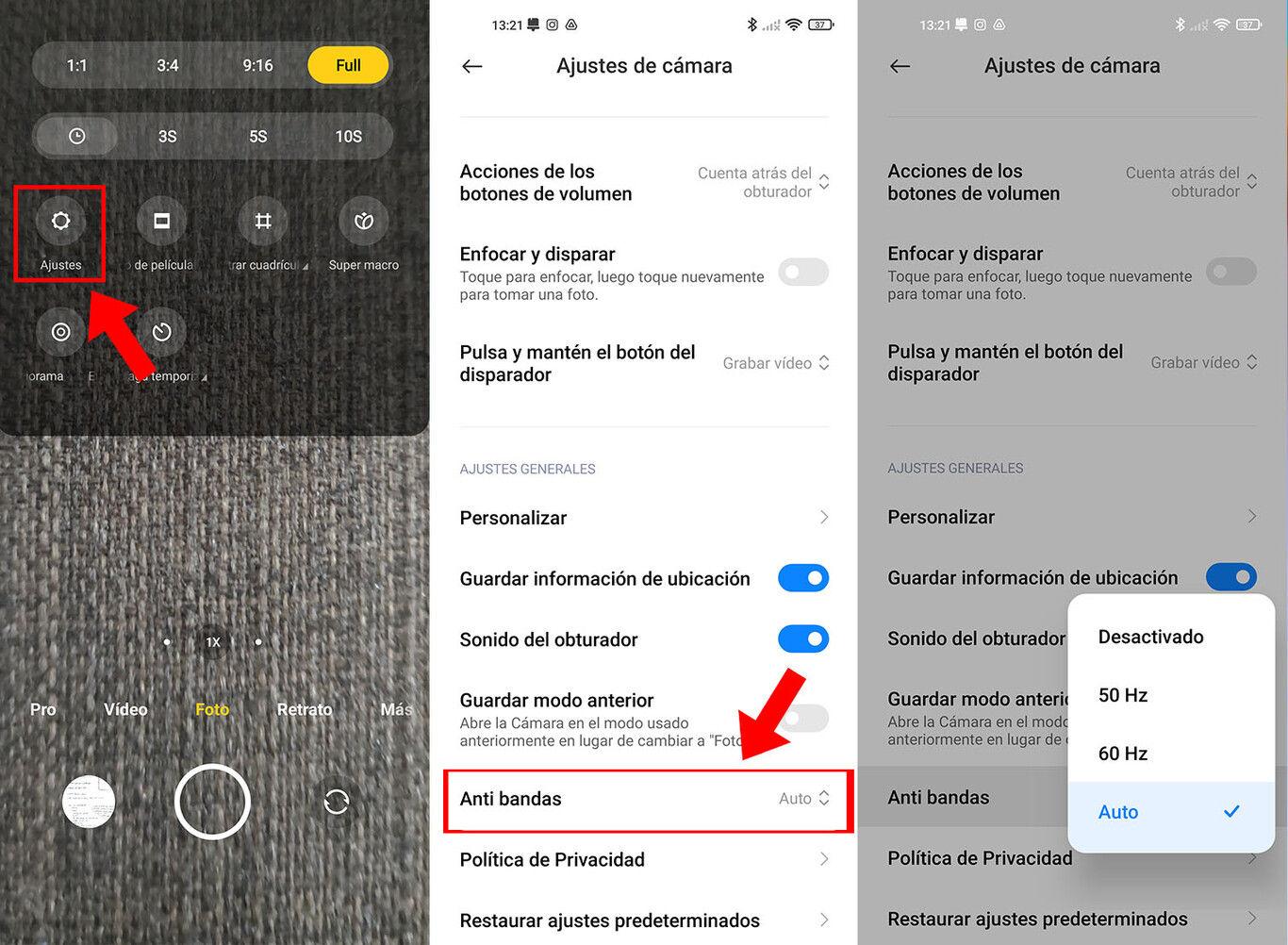 Cómo quitar el banding o flickering de tus fotos desde los ajustes de la cámara MIUI de Xiaomi