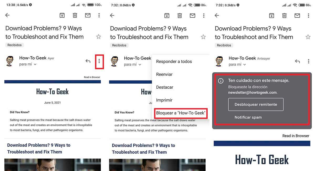 Como recibir menos correos publicidad Gmail cuadro bloquear