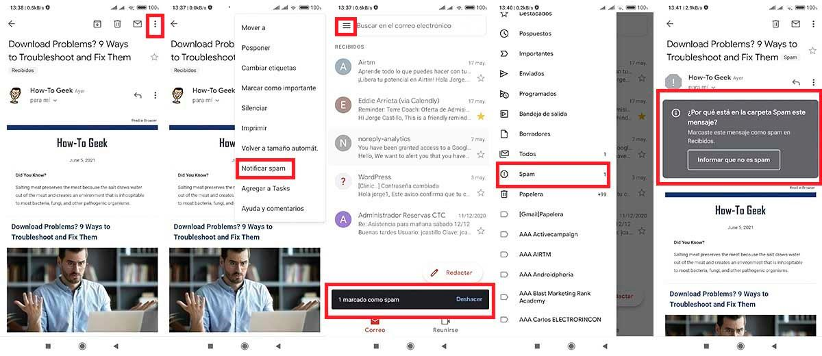 Como recibir menos correos publicidad Gmail cuadro spam