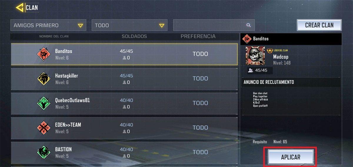 Como unirse a un clan Call of Duty Mobile paso 2