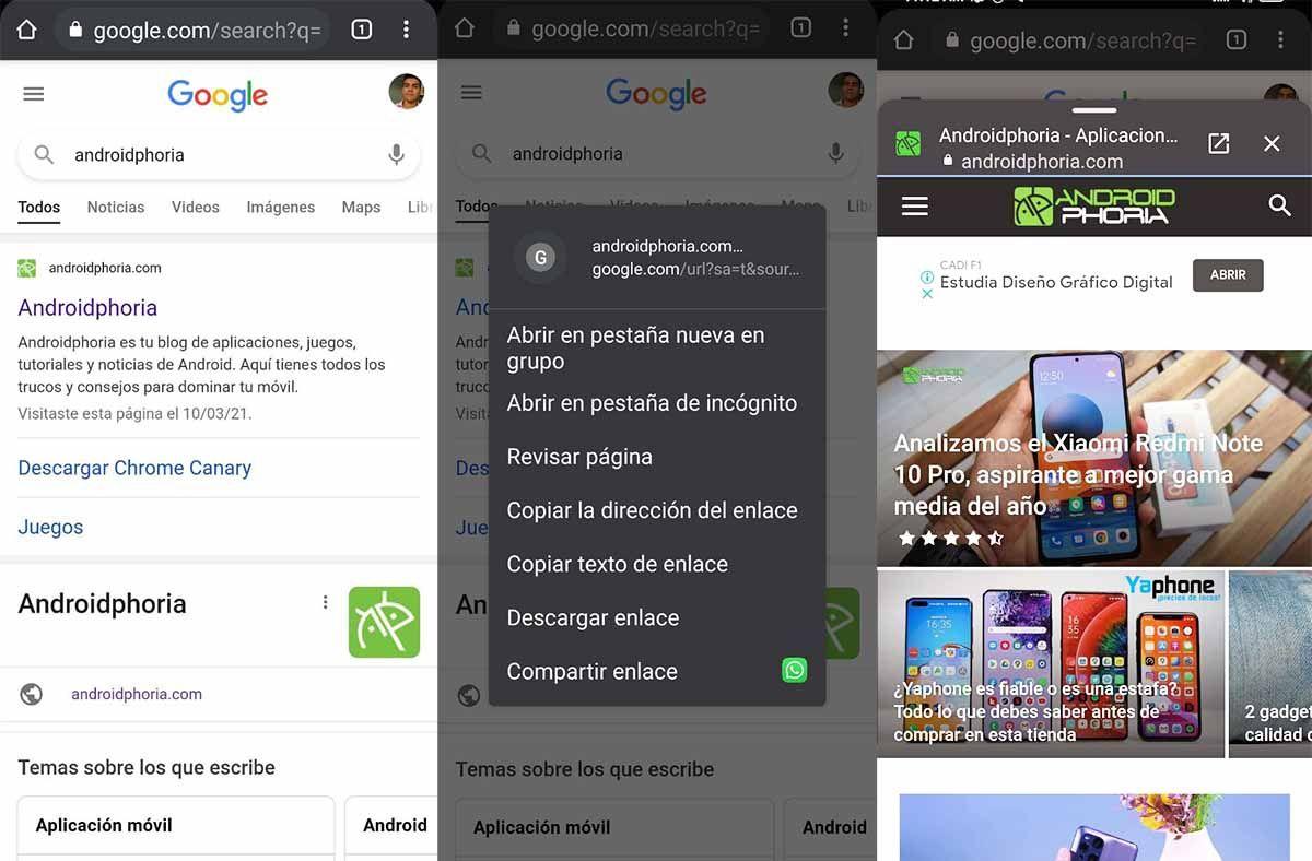 Cómo usar el botón Revisar pagina de Chrome en Android y para qué sirve