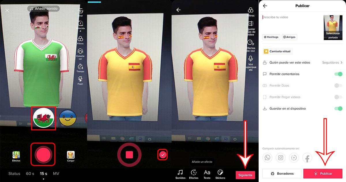 Cómo usar filtro de TikTok Camiseta virtual para ponerte camisetas de la Eurocopa