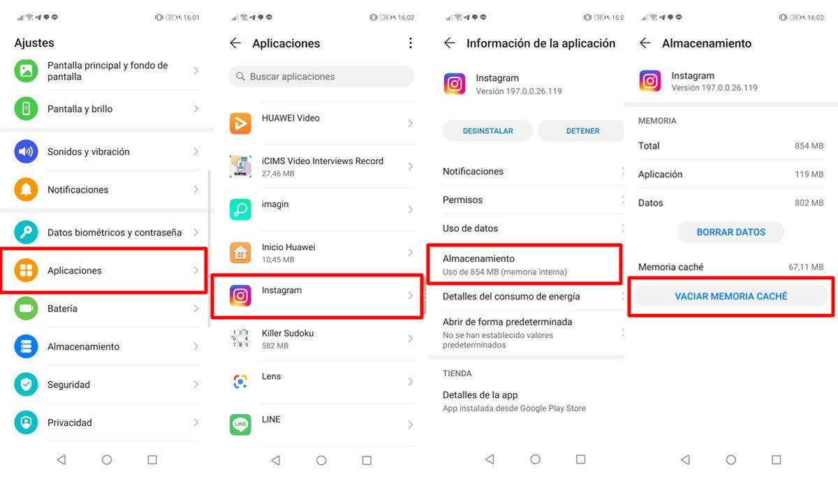 Cómo vaciar la memoria caché de Instagram desde un móvil Android