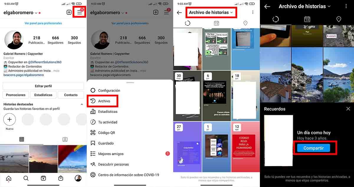 """Compartir """"Un día como hoy"""" Instagram"""