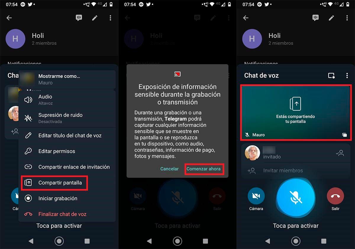 Compartir la pantalla en videollamada o chat de voz Telegram