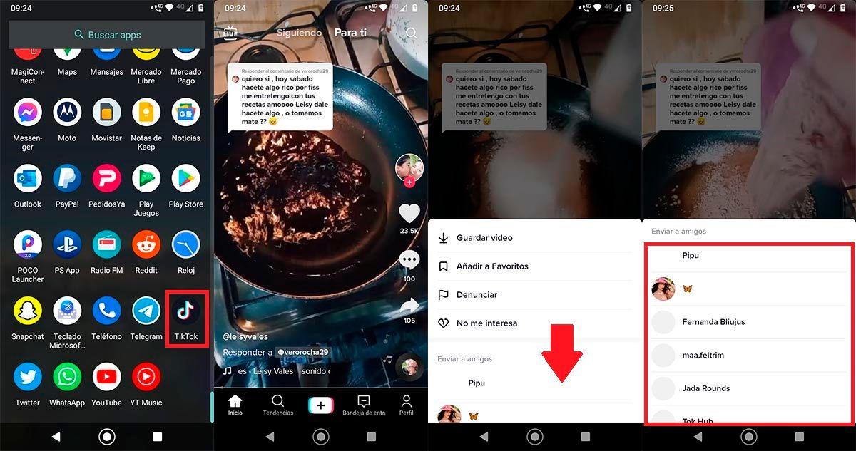 Compartir videos con otros usuarios de TikTok
