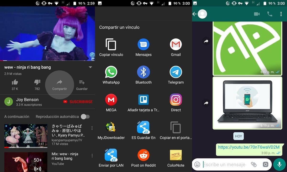 Compartir videos youtube whatsapp