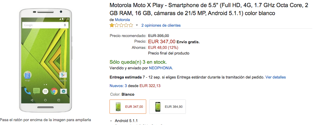 Compra el Moto X Play Blanco de oferta en Amazon