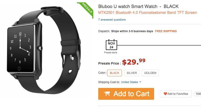 Comprar Bluboo Uwatch por 20 euros