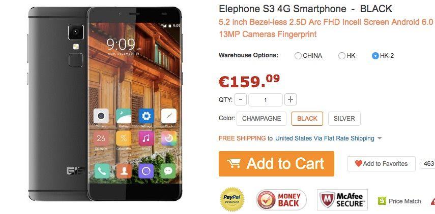 Comprar Elephone S3 mas barato
