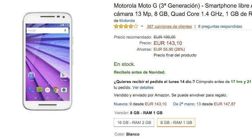 Comprar Moto G 2015 por 143 euros en Amazon