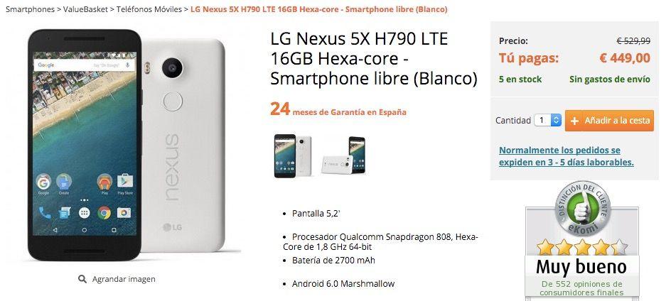 Comprar Nexus 5X más barato