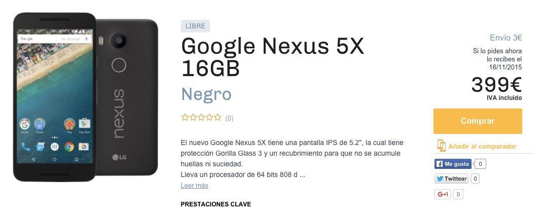 Nexus 5X baja 80 euros de precio en menos de 2 semanas