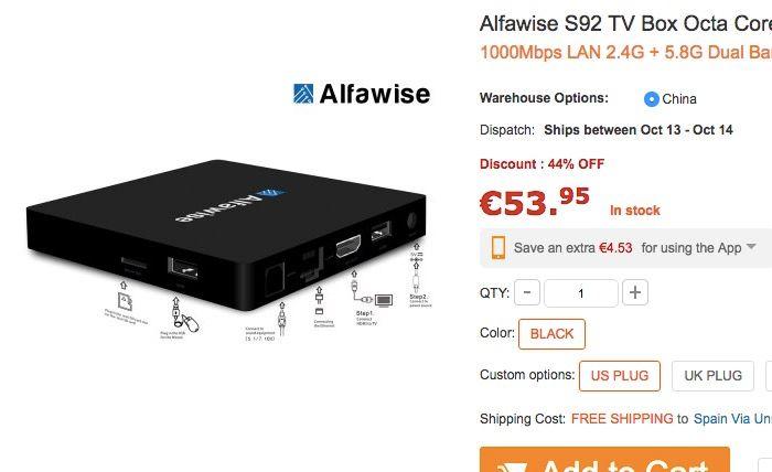 Comprar TV Box Alfawise S92 de oferta