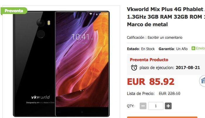 Comprar Vkworld Mix Plus 4G por 85 euros