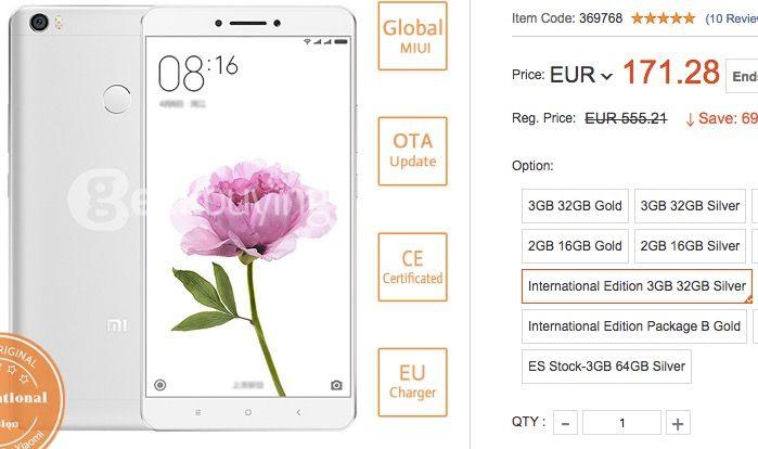 Comprar Xiaomi Mi Max por 170 euros
