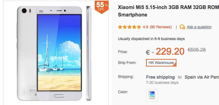 Comprar Xiaomi Mi5 por 206 euros en Banggood