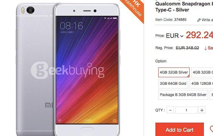 Comprar Xiaomi Mi5s de oferta por 292 euros