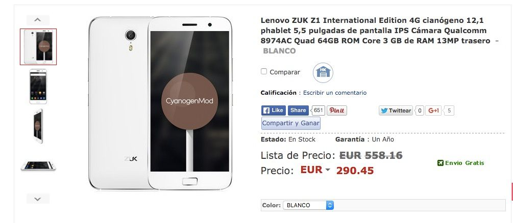 Comprar ZUK Z1 más barato