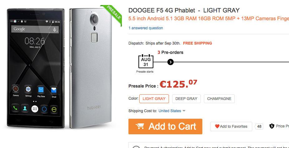 Comprar el Doogee F5 más barato