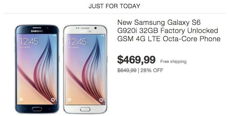 Comprar el Galaxy S6 más barato en Ebay