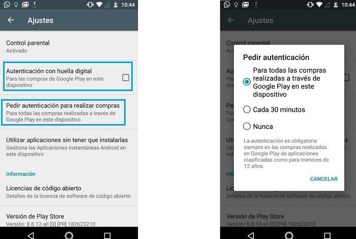 Compras en Google Play activar control parental