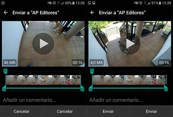 Comprimir video en WhatsApp