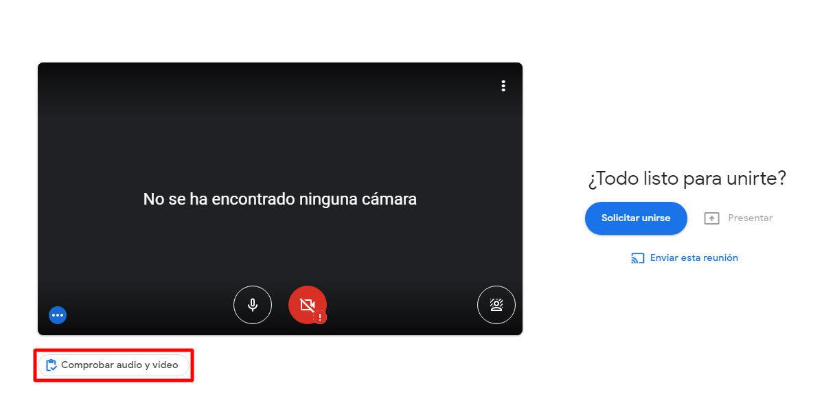 Comprobar audio y vídeo en el Green Room de Google Meets antes de una llamada