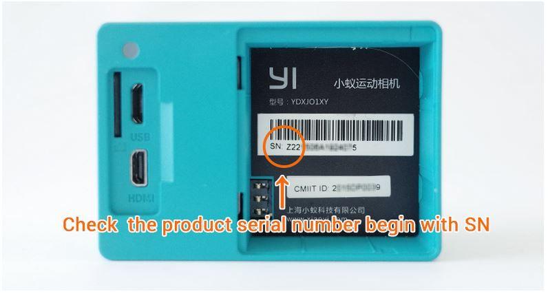 Comprobar número de serie de la Xiaomi Yi