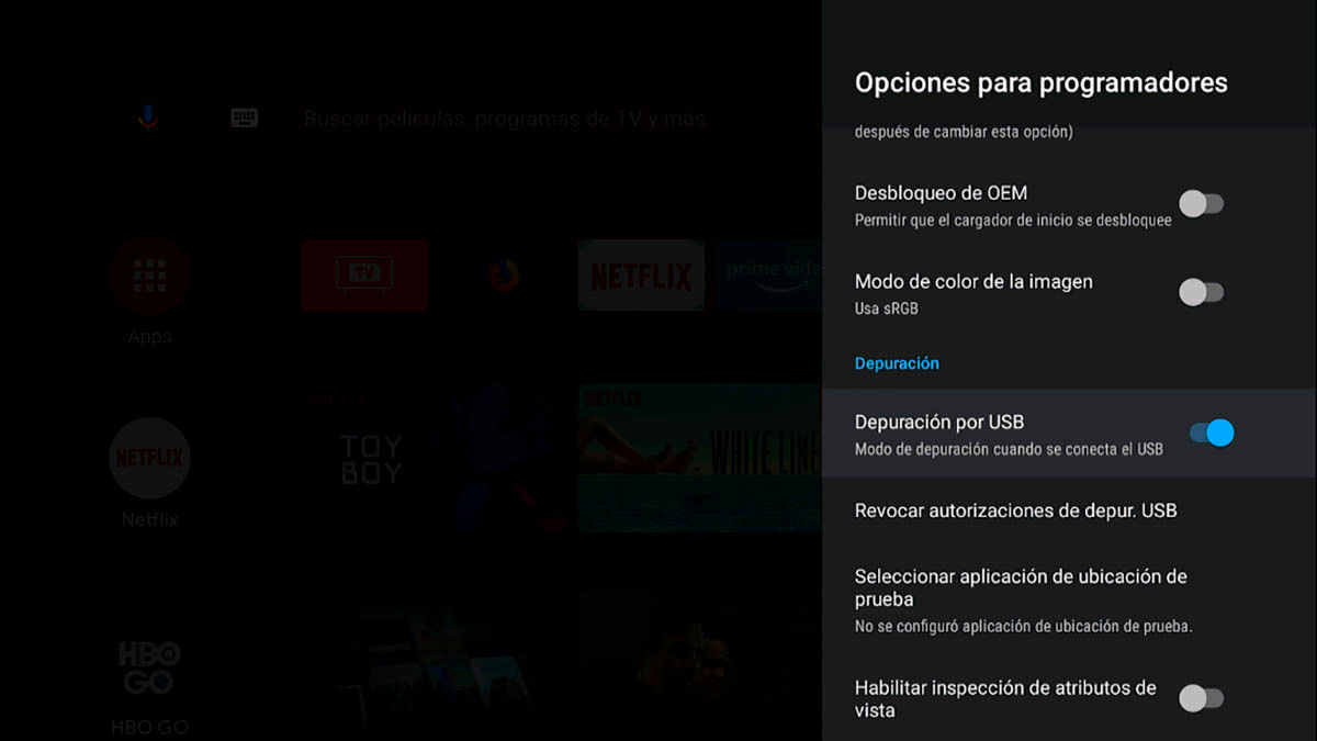 Conectar USB Android TV